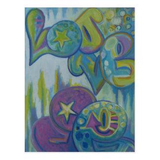 Love, pastel graffiti style post card