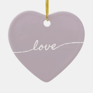 Love Pastel Minimalist Typographic Design Christmas Tree Ornament