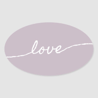 Love Pastel Minimalist Typographic Design Oval Sticker