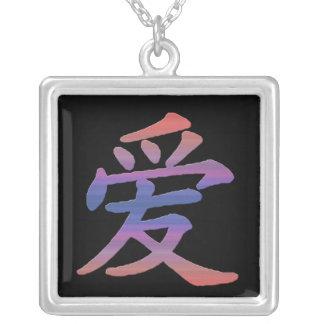 Love Pastel Square Pendant Necklace