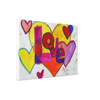Love Patchwork Heart Glitter Painting Canvas Print