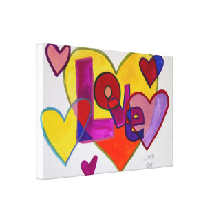 Love Patchwork Hearts Painting Canvas Print