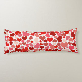 Love, Pattern Of Hearts, Heart Motif - Red White Body Pillow