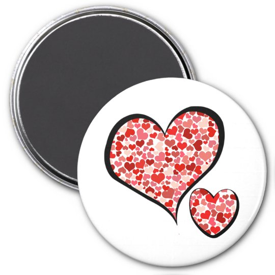 Love, Pattern Of Hearts, Heart Motif - Red White Magnet