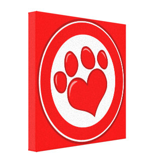 Love-Paw-Print- Animals Causes Red White Love Canvas Print