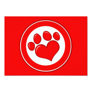 Love-Paw-Print- Animals Causes Red White Love Card