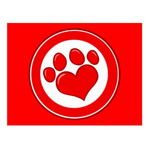 Love-Paw-Print- Animals Causes Red White Love Post Cards