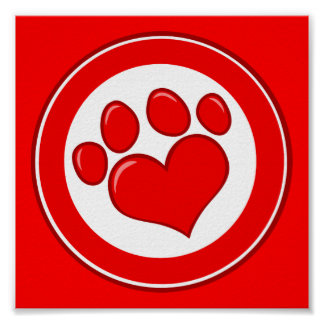 Love-Paw-Print- Animals Causes Red White Love Poster