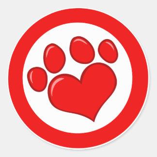 Love-Paw-Print- Animals Causes Red White Love Classic Round Sticker