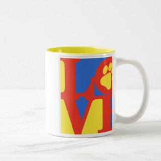 LOVE paw print Two-Tone Coffee Mug