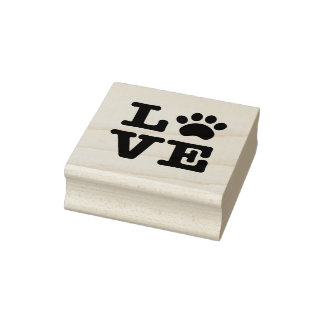 Love Paw Print Wood Rubber Stamp