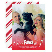 Love Paws Joy - Red & White - Pets Christmas Photo Card