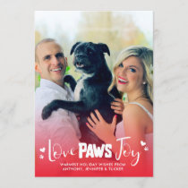 Love Paws Joy - Red & White - Pets Christmas Photo Holiday Card