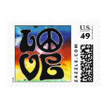 Love & Peace 60s Retro Stamp