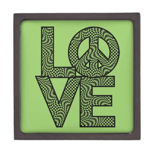 LOVE=Peace a cuadros Cajas De Joyas De Calidad