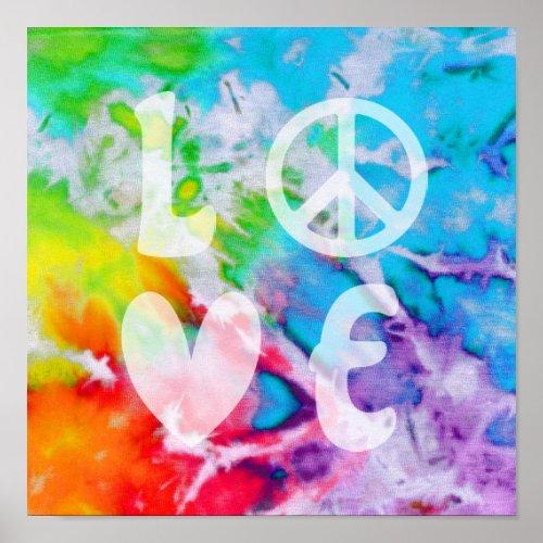 Love Peace Abstract Boho Watercolor Rainbow Batik Poster