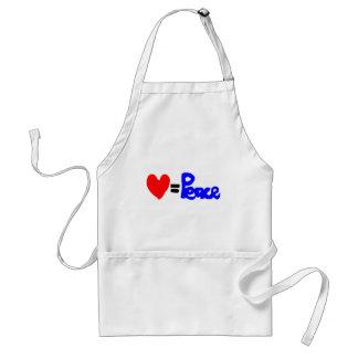 love = peace adult apron