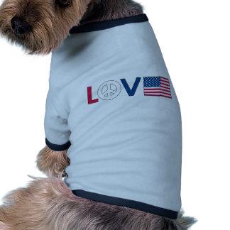 Love Peace America Doggie T-shirt