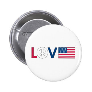 Love Peace America Pinback Button