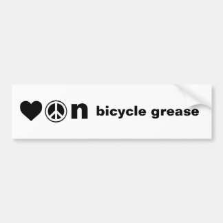 Love Peace and Bicycle Grease Bumper Sticker