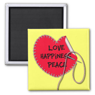 Love peace and happiness sewing heart magnet