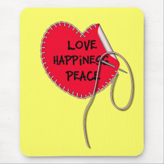 Love peace and happiness sewing heart mouse pad