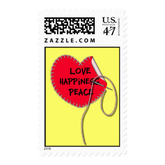 Love peace and happiness sewing heart postage