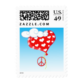Love, Peace, And Heart Balloons Postage