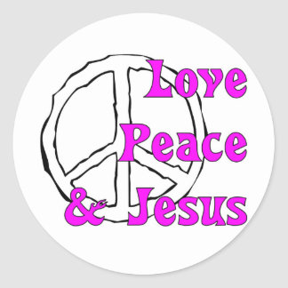 Love peace and Jesus Christian peace sign Classic Round Sticker