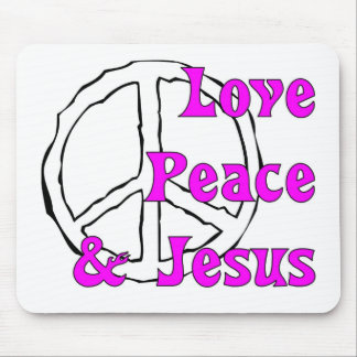 Love peace and Jesus Christian peace sign Mouse Pads