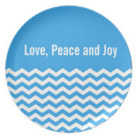 Love, peace and joy blue chevron holiday plate dinner plate