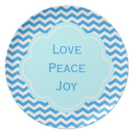 Love, peace and joy blue chevron  holiday plate plates