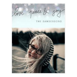 Love Peace And Joy Bokeh Script Modern Photo Postcard