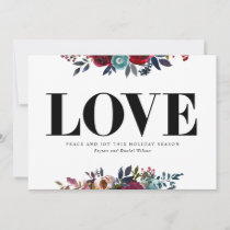 Love Peace and Joy Floral Navy Red Holiday Card
