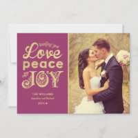 Love Peace and Joy | Gold and Burgundy Photo Holiday Card