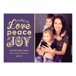Love Peace and Joy | Gold Holiday Photo Card