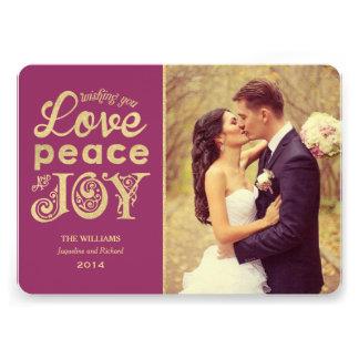 Love Peace and Joy | Gold Holiday Photo Card