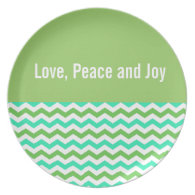 Love, peace and joy green chevron holiday plate party plates