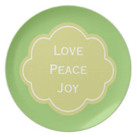 Love, peace and joy green  holiday plate plate