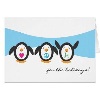 Love, Peace and Joy Penguin Holiday Card