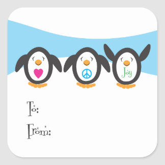 Love, Peace and Joy Penguin Holiday Tag Square Sticker