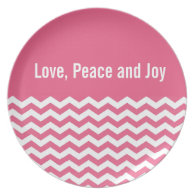 Love, peace and joy pink chevron holiday plate plates