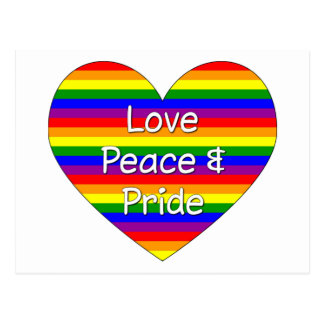 Love Peace And Pride Gay Pride Rainbow Heart Postcard