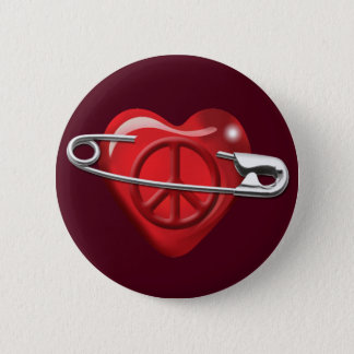 Love Peace and Safety For All red heart Button