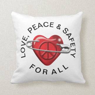 Love Peace and Safety For All red heart Throw Pillow