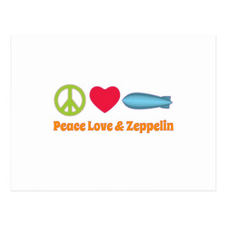 Love Peace and Zeppelin Postcard