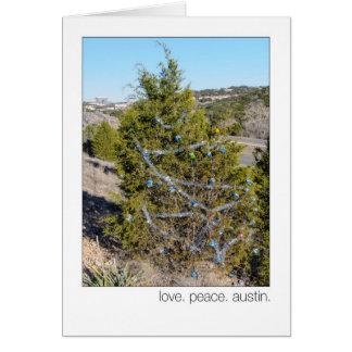 Love. Peace. Austin. 360 Loop Christmas  Trees Greeting Cards