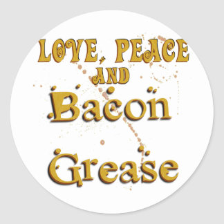 Love Peace & Bacon Grease Classic Round Sticker