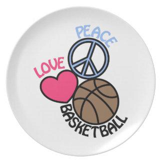 Love Peace Basketball Melamine Plate