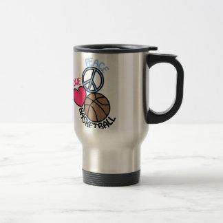 Love Peace Basketball Travel Mug